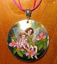 véritable russe peint à la main pendentif coquillage Apple Blossom Fée Fleur