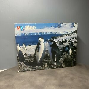Vintage Sealed MB 1000 piece Nature puzzle Chinstrap Penguin Colony 4091-22 RARE