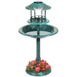 Pedestal Bird Bath Outdoor Solar Powered Light Decorative Lantern w/ Planter