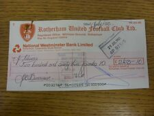 22/07/1983 Rotherham United: Official Club Cheque - payable to John Adams [Chief
