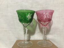 """2 Nachmann Traube Cut To Clear Crystal Wine Stems 5 9/16"""""""