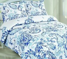 Kelly Paisley Quilt Set with Shams Blue and White King New