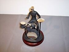 "DRUMMER Player FIGURINE SCULPTURE ART Black & Silver. 10"" Wood Base"