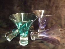 "SET OF FOUR 4 1/2"" MARTINI GLASSES, 2 AQUA, 2 LAVENDER"