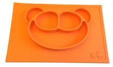 Platzset, Tischset aus Silikon, Baby-Kinder-Teller mit Bär, Orange