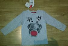 Mothercare Xmas Unisex t-shirt with a flashing nose 6-9 mths NEW