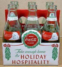 1991 COCA-COLA Seasons Greetings Santa 6 EMPTY 8oz BOTTLES + CARRIER!