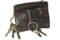 Rimbaldi® Leder Doppel - Schlüsseltasche mit 2 Schlüsselketten in Dunkelbraun