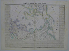 1844 Genuine Antique map of the Arctic, Polar View. B Marzolla