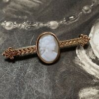 Victorian Neo Classical Revival Cameo Brooch, Antique Gold Gilt Pin C 1880's