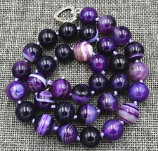 "10mm Natural Purple Onyx Agate Gems Necklace 18"" Tibetan silver love clasps"
