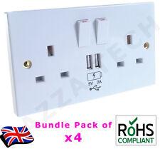 4x 2 Way UK Mains Power Socket USB Charging Ports Connection Wall Plate Plug