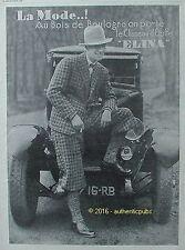 PUBLICITE ELINA CHAPEAU ETOFFE MODE AU BOIS DE BOULOGNE DE 1928 FRENCH AD PUB