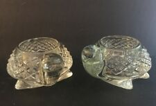 Pair (2) Vintage Avon Turtle Tortoise Cut Art Clear Glass Votive Candle Holder