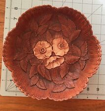 """Vintage 1951 Multi Products Inc. Molded Syroco Wood Bowl, Floral Design ~ 8"""""""
