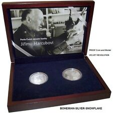 VELVET REVOLUTION and VACLAV HAVEL Coin and Medal RARE SET Czech PROOF Silver