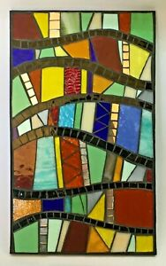 M055 Glass Mosaic Wall Art Picture 30cm x 18cm Abstract Curves Multi Colour
