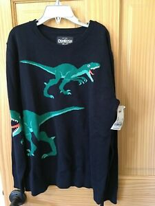 NWT Oshkosh Boy Dinosaur Pullover Sweater Boy Navy 7, 10, 12, 14