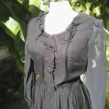1960 Vintage Dress by Melbray Black chiffon ruffle neck line Clothing