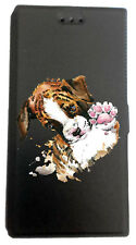 Etui Housse Book pour Huawei P10 Lite avec support Noir Chien Chiot