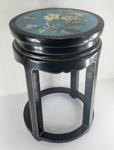 Vintage 20th Century Chinese Cloisonne Enamel and Black Lacquer Side Table Stand