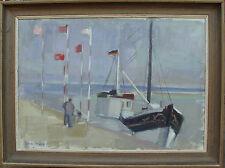 Uno Svärd *1924, deutscher Fischkutter im Hafen, um 1950