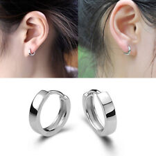 1PAIR HOOP HUGGIE SLEEPER EARRINGS MENS WOMENS KIDS PUNK SILVER