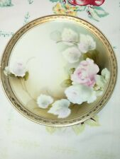 Vtg B& T Co Hand Painted Porcelain Plate Pink Roses/ Gold R S Germany
