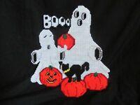 """14"""" Halloween Ghost & Pumpkin Musical Door Hanging Sign Wall Decor Cross-Stitch"""