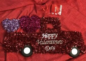 Valentines Day Tinsel Red Truck With Purple Hearts In Rear Wall Decoration