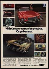 1974 CHEVROLET CAMARO Gold Z28 & Red Sport Coupe 350 V8 Sports Car VINTAGE AD