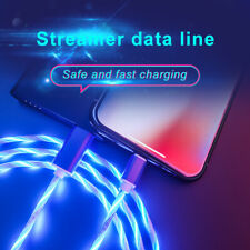 LED flowing Light Up USB Type-C iPhone Charger Data Sync Cable Charging Cord New