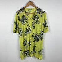 Blue Illusion Womens Top Size Medium Yellow Floral Short Sleeve 100% Linen
