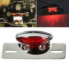 Chrome Motorcycle LED Brake Tail Light For Harley Chopper License Plate Bracket