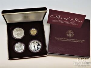 1995 US Olympics Atlanta Gold, Silver Proof Coin Commemorative Set 4, COA 16199