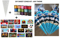 10 x PERSONALISED DIY SWEET CONES KIT PARTY BAG LOOT BAG - THANK YOU - THEME F