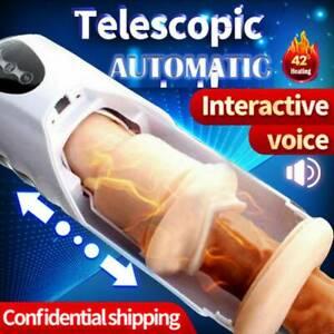 Automatic HandsFree Male Masturbaters Telescopic Heating Cup Stroker Men Sex Toy