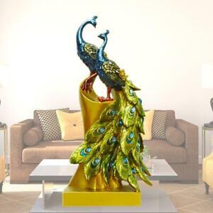 27cm Resin Crafts Peacock Figurine Store Wedding Birthday Gift Home Art Decor