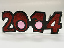 2014 RED GLITTER GLASSES NEW YEARS HOLIDAY ACCESSORY ONE SIZE