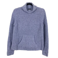 Eileen Fisher Blue Boucle Merino Wool Cashmere Turtleneck Sweater Womens Size PS