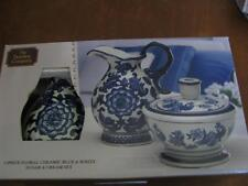 The Bombay Company Blue and White Ceramic Sugar Bowl and Creamer Set  2 PC NIB