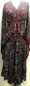 Boho hippie 100% SILK Beach Kimono Cover Up Wrap Long Burgundy dress One size
