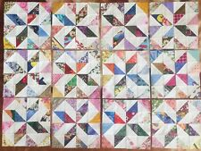 12ScrappyPinwheel Stars Quilt Blocks Top Cotton Fabric Squares made in Usa