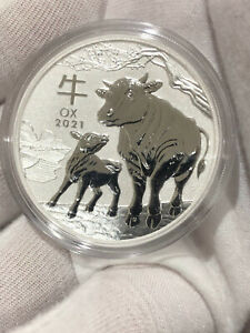 2021 Australian Year of the OX Lunar $1 coin .9999 ultra fine silver in capsule