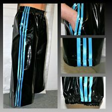 PVC Track Pants S - 4XL, Black & Turquoise (NOW WITH POCKETS)