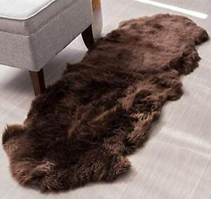 Genuine Sheepskin Rug Double Pelt Brown Fur Sheep Skin Throw Rug 2 x 6 rug