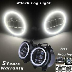 "2X 4""inch 30W Round LED Fog Light Driving Lamp DRL for Jeep Wrangler JK TJ Dodge"