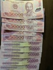 10 X 50000 Vietnam Dong = 500,000 Total VND Banknotes Cir, Vietnamese, Vnd Note