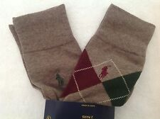 Polo Ralph Lauren Socks~2 Pack~Heather/Wine/Grn Argyle~Solid Heather~NWT~Last Pr