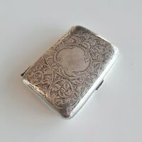 Small Edwardian Hand Tooled Sterling Silver Cigarette Case 1910 W H Haseler